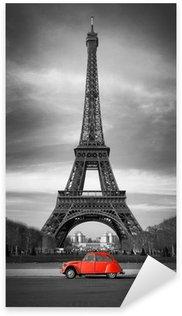 Naklejka Pixerstick Wieża Eiffla i czerwony-paris samochód