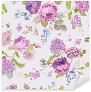 Naklejka Pixerstick Wiosenne kwiaty tła - Seamless Floral Shabby Chic Wzór