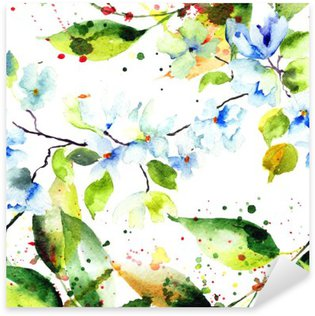 Naklejka Pixerstick Wiosna bez szwu z kwiatów