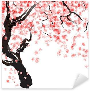 Naklejka Pixerstick Wiśniowe drzewo kwiat