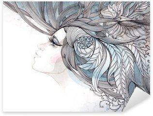 Naklejka Pixerstick Włosy ozdobną z liści
