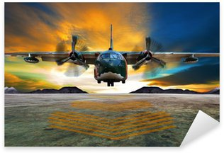 Naklejka Pixerstick Wojskowy samolot do lądowania na drogach startowych lotnictwo przeciwko pięknej dus