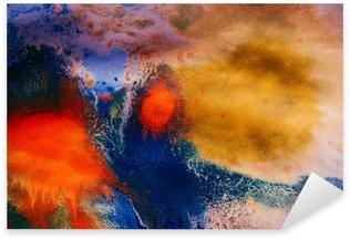 Naklejka Pixerstick Wysuszone smugi wielobarwny farby z pęknięciami