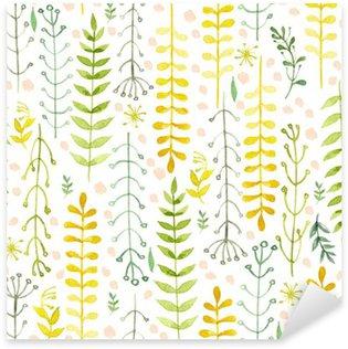 Naklejka Pixerstick Wzór kwiaty malowane akwarelą na białym papierze. Szkic kwiatów i ziół. Wieniec, wieniec z kwiatów.