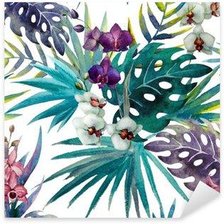 Naklejka Pixerstick Wzór liści hibiskusa orchidei tropików akwarela
