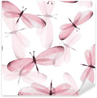 Naklejka Pixerstick Wzór motyli. Jednolite tło wektor. Ilustracja akwarela 10