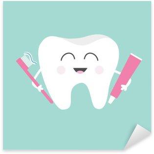 Naklejka Ząb gospodarstwa pasty do zębów i szczoteczkę do zębów. Śliczne śmieszne kreskówki z uśmiechem. Dzieci do pielęgnacji zębów ikony. Oral higienę jamy ustnej. zdrowia zębów. Dziecko tła. Płaska konstrukcja.