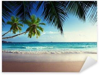 Naklejka Zachód słońca na plaży Seszele