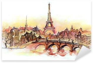 Naklejka Pixerstick Zachód słońca w Paryżu