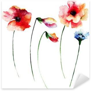Naklejka Pixerstick Zestaw akwareli letnich kwiatów