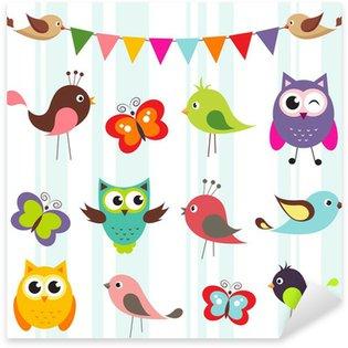 Naklejka Pixerstick Zestaw cute ptaków i motyli