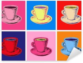 Naklejka Pixerstick Zestaw kubek kawy ilustracji wektorowych stylu pop
