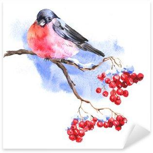 Naklejka Zima akwarela z Bullfinches