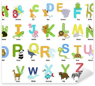 Naklejka Zwierząt tematyce alfabet od A do Z