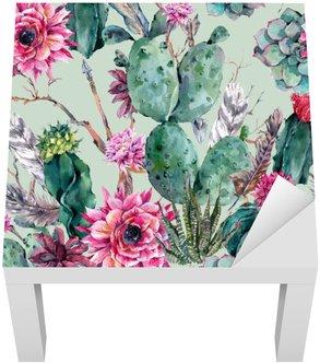 Cactus akvarel bezešvé vzor v Boho styl.