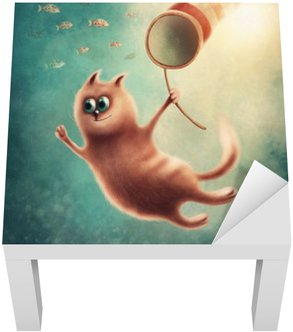 Červená kočka chytat ryby