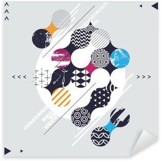 Nálepka Pixerstick Abstraktní geometrické kompozice s ozdobnými kruhy