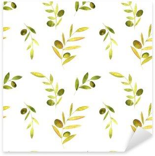 Nálepka Pixerstick Akvarel bezproblémové vzorek s olivami, listí a větve