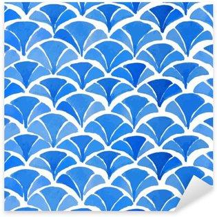 Nálepka Pixerstick Akvarel modré japonský vzor.