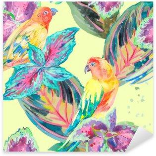 Nálepka Pixerstick Akvarel Papoušci .Tropical květiny a listy. Exotický.