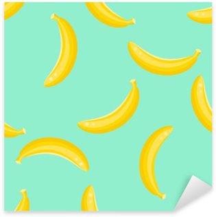 Nálepka Banán ovoce bezešvé vektoru vzor. Žlutý banán potraviny pozadí na zelené máty.