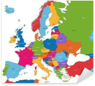 Nálepka Barevné Mapa Evropy se zeměmi a hlavní města