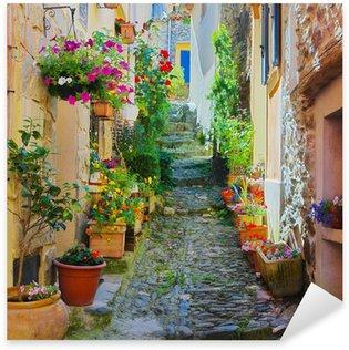Nálepka Barevné úzká ulice ve vesnici v Provence