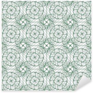 Nálepka Pixerstick Bezešvé abstraktní vzor pozadí se zeleným gilošového ornament na bílém (průhledné) pozadí. Vektorové ilustrace eps