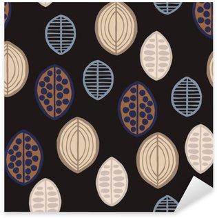Nálepka Bezešvé květinový vzor s primitivními listy. Bezešvé květinový vzor s primitivními listy. Tribal etnický původ, Taupe tóny na černém pozadí. Textilní design.