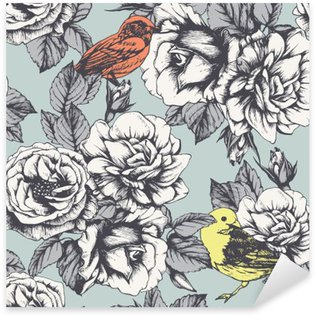 Nálepka Pixerstick Bezešvé květinový vzor s ručně tažené růže a ptáky. Vektor