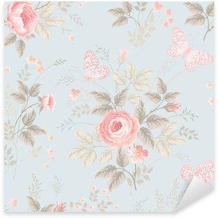 Nálepka Pixerstick Bezešvé květinový vzor s růžemi a motýly