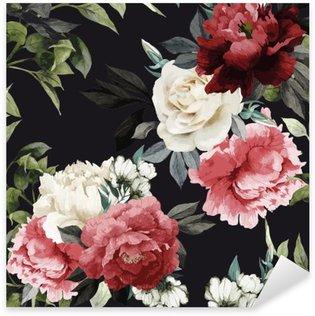 Nálepka Pixerstick Bezešvé květinovým vzorem s růží, akvarel. vektor illustrat