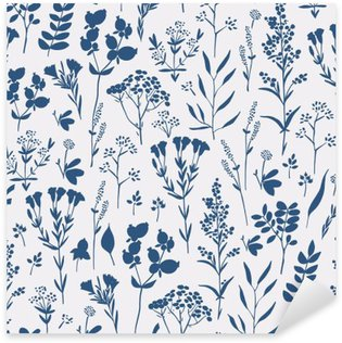 Nálepka Pixerstick Bezešvé ručně kreslený květinovým vzorem s bylinkami