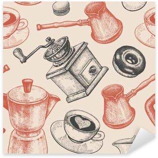 Nálepka Pixerstick Bezešvé vzor je především o kávě.