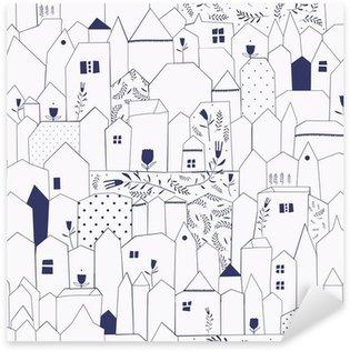 Nálepka Pixerstick Bezešvé vzor. Obrázek měst ve stylu vintage.