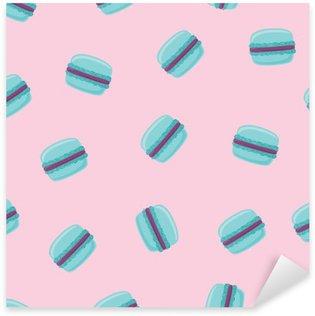 Nálepka Bezešvé vzor s modrými mandlové cookies na růžové. Vektorové ilustrace.