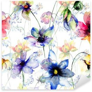 Nálepka Pixerstick Bezešvé vzor s ozdobným letních květin