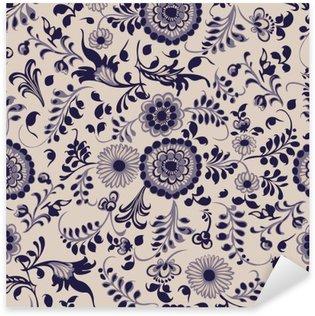 Nálepka Pixerstick Bezproblémové vzor, květinové ozdobné prvky v gzhel stylu