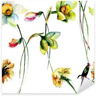 Nálepka Pixerstick Bezproblémové vzorek s Narcissus a pampeliška květiny