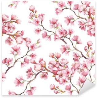 Nálepka Pixerstick Bezproblémové vzorek s třešňové květy. Akvarel ilustrace.