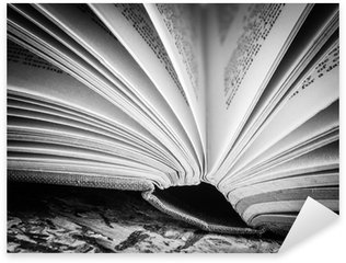 Nálepka Pixerstick Černá a bílá otevřená kniha
