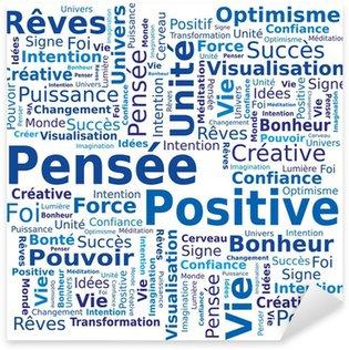 Nálepka Cloud slov - Pozitivní myšlení ve francouzštině