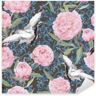 Nálepka Pixerstick Crane ptáci, květy pivoňky. Květinová opakování čínské vzor. Akvarel