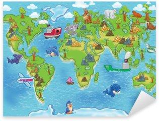 Nálepka Pixerstick Děti mapa světa