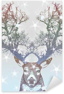 Nálepka Pixerstick Frozen tree roh jelen