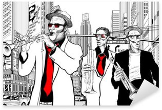 Nálepka Jazzová kapela v ulici New Yorku