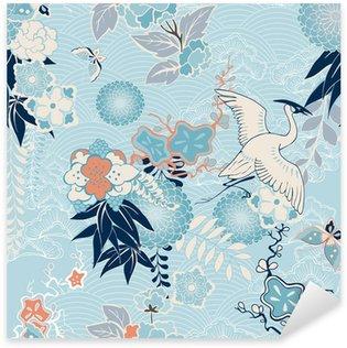 Nálepka Pixerstick Kimono pozadí s jeřábem a květiny