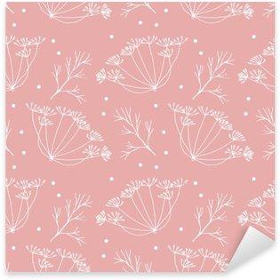 Nálepka Kopru nebo fenyklu květy a listy vzorek.