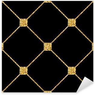 Nálepka Pixerstick Kosočtverec bezešvé vzor. Zlaté třpytky a černá šablona. Abstraktní geometrické textury. Zlatý ornament. Retro, Vintage dekorace. Šablona návrhu tapety, balení, textilie atd. Vektorové ilustrace.