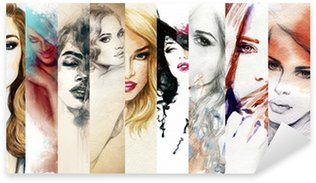 Nálepka Pixerstick Krásná ženská tvář. akvarel ilustrace